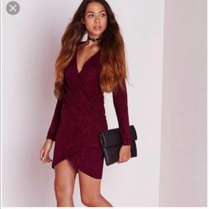 Missguided Burgundy Suede Wrap Dress